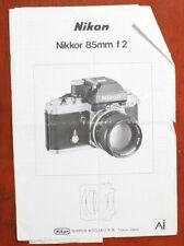 NIKON 85/2 NIKKOR AI INSTRUCTION BOOK/156729