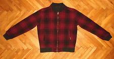 Woolrich Double sided Bomber jacket wool nylon tartan plaid red black men L