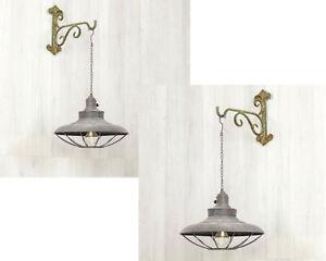 RUSTIC INDUSTRIAL LED Lantern Metal Hanging Light 6 Hour Timer Rustic Bronze New