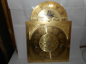 Antique Clock Parts Grandfather Face Large Type Gears Pearl