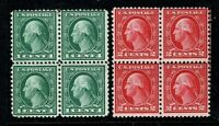 [KN]  US #538 & #540 ~ Mint-NH 1919 Rotary Printing Issue Perf. 11 Blocks of 4