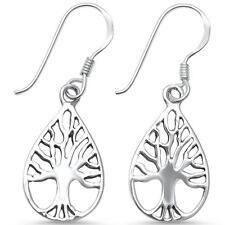 Plain Tree of Life .925 Sterling Silver Earrings