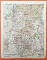 BERLIN  SÜDWEST Stadtplan 1913 Wilmersdorf Grunewald Steglitz Zehlendorf Dahlem