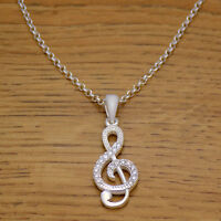 Solid 925 Sterling Silver Musical Treble Clef White CZ Necklace Pendant & Chain