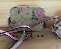 New COACH Mini Camera Bag In Signature Canvas With Prairie Rose Print $250