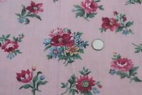"""Vintage Small Pink Floral Cotton Fabric c1940s~L-22"""" X W-35"""""""