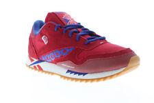 锐步经典皮革波纹 dv7196 女式红色麂皮低帮运动鞋