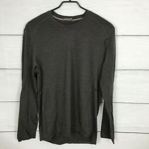 Smartwool Long Sleeve Base Layer Top Size Medium M Striped Brown ***FLAW***