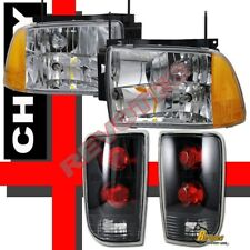 95-97 Chevy Blazer S10 LT LS Headlights Lamps + Tail Lights Black