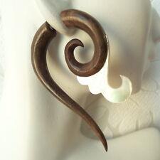 Spiral Fake Gauge Earrings Shell Inlaid in Wood Faux Plugs Boho Organic Jewelry