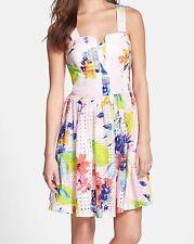 New TRINA TURK Flirtatious Flower Cotton Print ELIN Eyelet Fit & Flare Dress 10