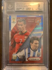2014 Panini world cup prizm Messi Ronaldo match up red blue wave BGS 9