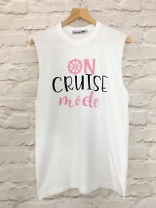"""VIOLET WOLVES """"ON CRUISE MODE"""" WOMENS CRUISE HOLIDAY SLOGAN T-SHIRT VEST TOP"""