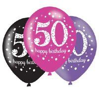 6pk Pink Sparkling Celebration 50th Happy Birthday Party Latex Balloons 27cm