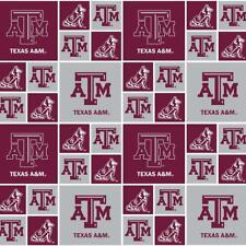 Ncaa Texas A&M Block Tam-020 Cotton Fabric by the Yard