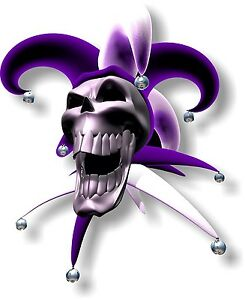 Vinyl sticker/decal Extra large 230mm jester laughing skull purple - facing left