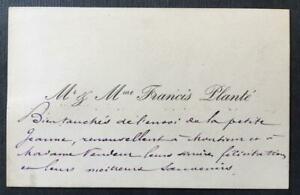 Francis Plante, French Pianist, INSCRIBED visiting card