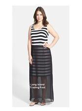 Vince Camuto Black Chiffon Overlay Stripe Stretchy Maxi Dress Exposed Zipper 1X