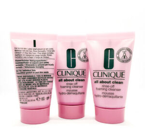 Lot of 3 Clinique all about clean Rinse-Off Foaming Cleanser 1 oz / 30ml