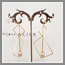 Boucles d'oreilles IKITA Bijoux dorée acier inoxydable perle nacrée