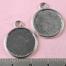 10pcs Tibetan silver crafted flat round charms H1240