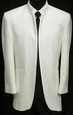 "Ivory Off-White Bone ""Mirage"" Mandarin Nerhu Tuxedo Dinner Jacket Wedding 56R"