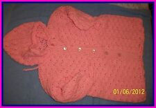 Pink Hand-Crocheted Handmade 1-Piece Baby Bunting 0-6 mo