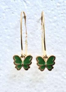 18k Gold Plated Jade Green Butterfly Dangle Earrings, Oversize Hook, & Gift Box
