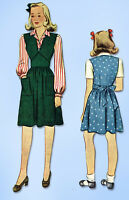 1940s Vintage McCall Sewing Pattern 4498 WWII Little Girls Jumper Dress Size 12