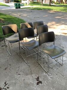 Six David Rowland 40/4 Brown Steel Chairs - Vintage - Mid Century - Stacking