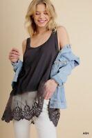 Umgee Embroidered Lace Hem Sleeveless Camisole Tank Top Tunic Size M