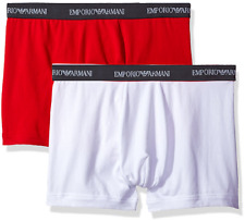 $64 EMPORIO ARMANI Men 2-PACK STRETCH BOXER BRIEF 111268 RED UNDERWEAR SIZE L