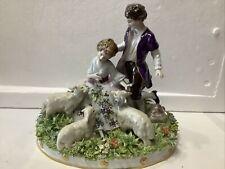 Sitzendorf Porcelain Statue 1884-1902 Man Woman Sheep