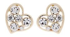 Pendientes De Clip-pendiente de Corazón Chapado en Oro con Cristales Claro-abril G
