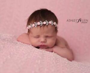 Pink Roses Blink Rhinestone Baby Newborn Hair Band Baptism Wedding Christening