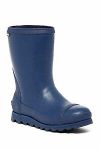 SOREL JOAN women short rubber navy waterproof rain pull on boots 9.5 10