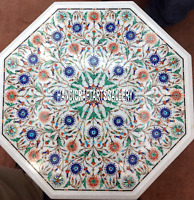 "15"" White Marble Coffee Table Top Lapis Floral Inlaid Art Home Garden Art H3128"