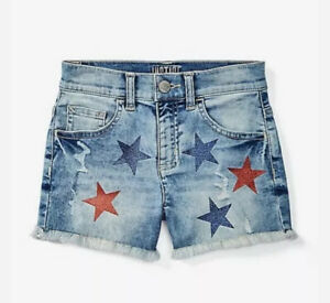 girls Justice size 10 12 Glitter Star Destructed Classic Shorts Light Wash Denim