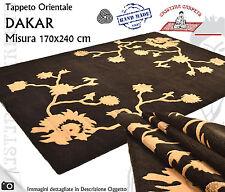 Tappeto Moderno DAKAR 170x240cm Lana Annodato Design Fiori Marrone Beige