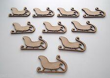 X10 Wooden MDF Christmas Decorations Santa's Sleigh Embellishments Card Making