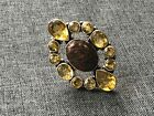 Citrine and Dinosaur Bone Large Statement Ring Sterling Silver size 10