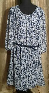 AB Studio Blue/White Floral Belted Lined Dress Women's Size XL - NWT