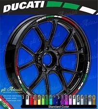 Set Adesivi Cerchi Moto Ruote DUCATI Monster Multistrada Hypermotard Tricolore