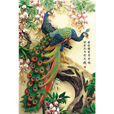 Wooden Jigsaw Puzzles 500 PCS Auspicious Peacock Flower Chinese Painting Decor
