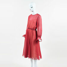 Philosophy Red Multi Silk Chiffon Floral LS Midi Dress SZ 8