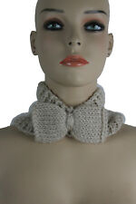 Women Fashion Scarf Head Big Bow Neck Warmer Cover Head Hair Beige Ivory Winter