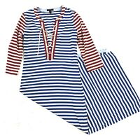 J. Crew Women's Striped Red Blue White Lace Up Nautical Maxi 3/4 Sleeve Dress XS