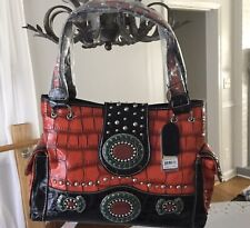 Red P&G Western Collection Handbag w/Red, Green and Silver Embellishments
