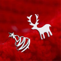 Fashion Christmas Trees Elk Silver Plated Ear Stud Earrings Xmas Ear Studs