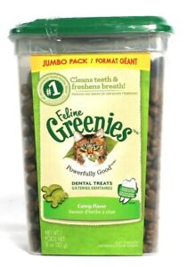 1 Feline Greenies Powerfully Good Dental Treats Catnip Flavor 11 oz BB 4/2021